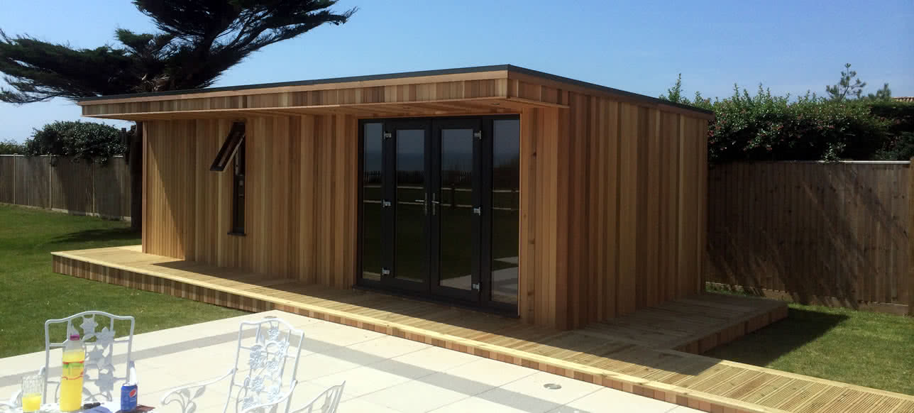 Garden Office in the summer sun, One of our larger office installs